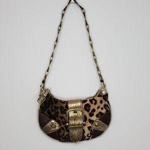 GUESS cheetah animal print fuzzy mini bag purse